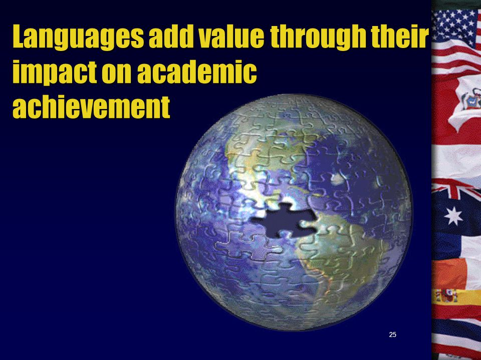 25 Languages add value through their impact on academic achievement