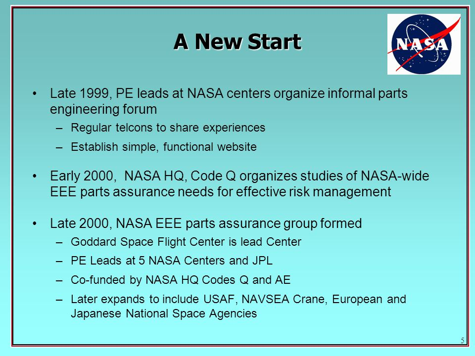 5 Late 1999, PE leads at NASA centers organize informal parts engineering forum –Regular telcons to share experiences –Establish simple, functional website Early 2000, NASA HQ, Code Q organizes studies of NASA-wide EEE parts assurance needs for effective risk management Late 2000, NASA EEE parts assurance group formed –Goddard Space Flight Center is lead Center –PE Leads at 5 NASA Centers and JPL –Co-funded by NASA HQ Codes Q and AE –Later expands to include USAF, NAVSEA Crane, European and Japanese National Space Agencies A New Start