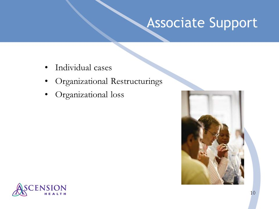 10 Associate Support Individual cases Organizational Restructurings Organizational loss