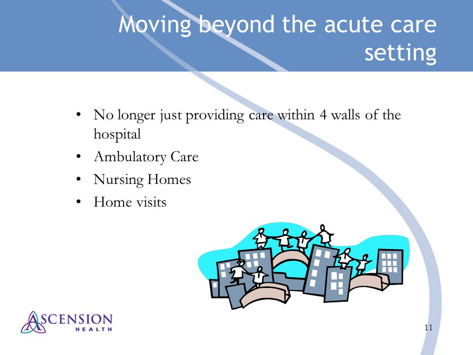 11 Moving beyond the acute care setting No longer just providing care within 4 walls of the hospital Ambulatory Care Nursing Homes Home visits