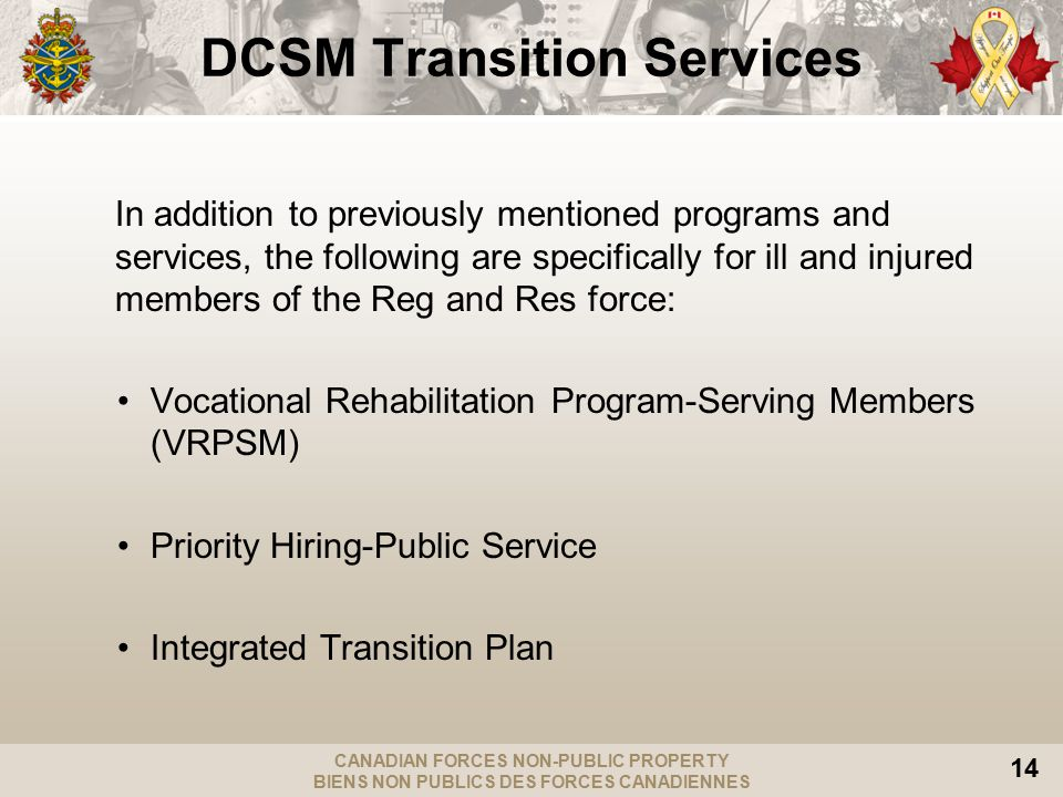 CANADIAN FORCES NON-PUBLIC PROPERTY BIENS NON PUBLICS DES FORCES CANADIENNES 14 DCSM Transition Services In addition to previously mentioned programs and services, the following are specifically for ill and injured members of the Reg and Res force: Vocational Rehabilitation Program-Serving Members (VRPSM) Priority Hiring-Public Service Integrated Transition Plan
