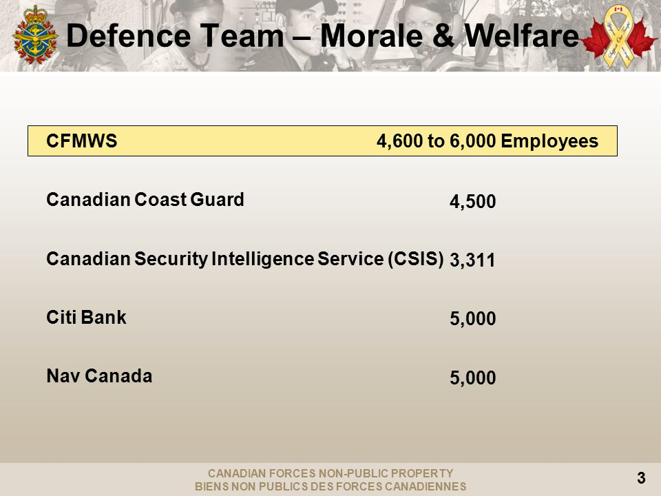CANADIAN FORCES NON-PUBLIC PROPERTY BIENS NON PUBLICS DES FORCES CANADIENNES 3 Defence Team – Morale & Welfare CFMWS4,600 to 6,000 Employees Canadian Coast Guard Canadian Security Intelligence Service (CSIS) Citi Bank Nav Canada 4,500 3,311 5,000