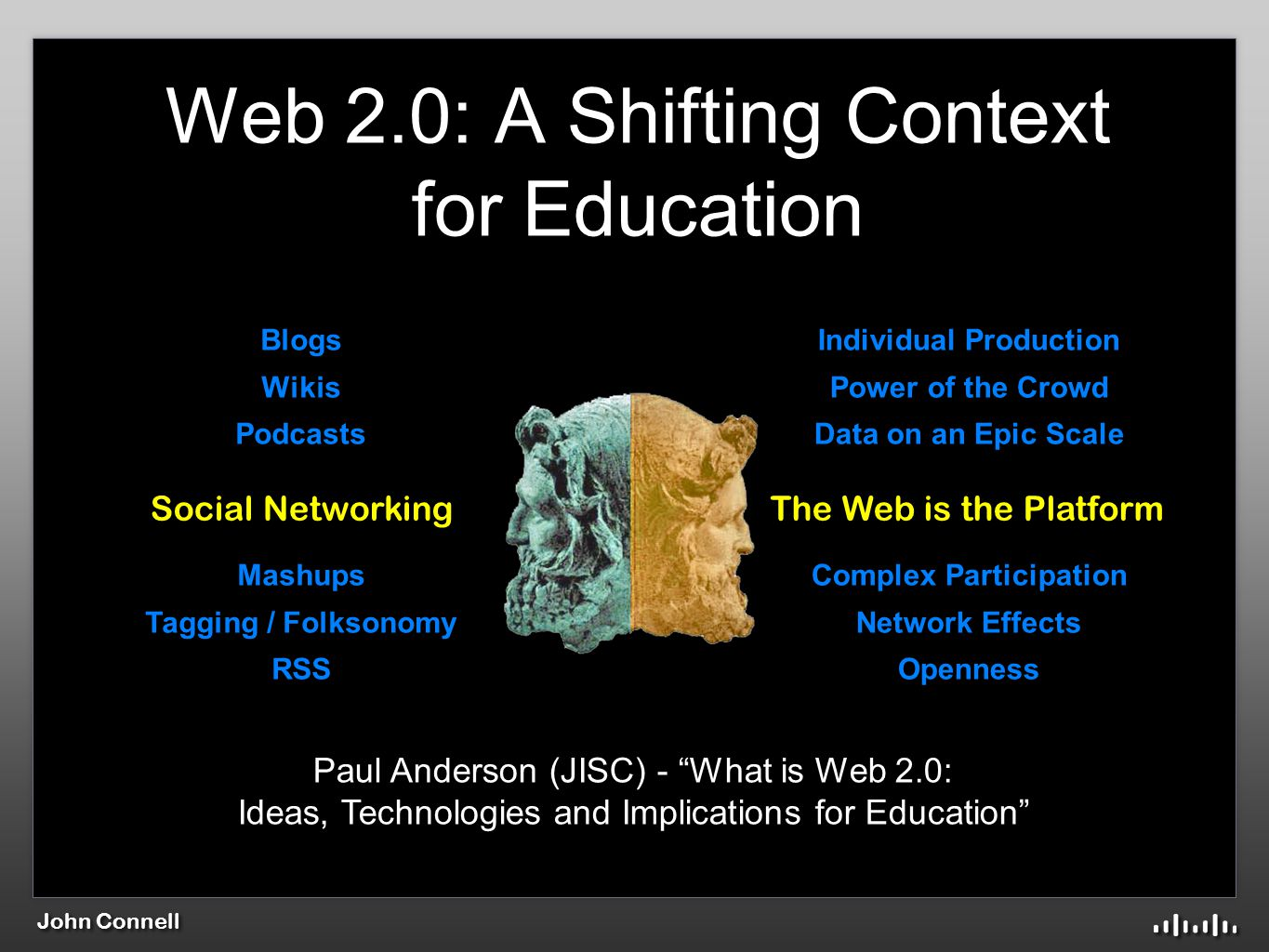 John Connell Individual Production Power of the Crowd Data on an Epic Scale Complex Participation Network Effects Openness Blogs Wikis Podcasts Mashups Tagging / Folksonomy RSS The Web is the PlatformSocial Networking Web 2.0: A Shifting Context for Education Paul Anderson (JISC) - What is Web 2.0: Ideas, Technologies and Implications for Education