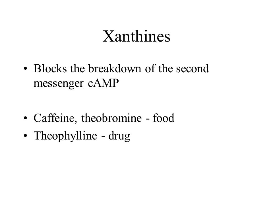 Xanthines Blocks the breakdown of the second messenger cAMP Caffeine, theobromine - food Theophylline - drug