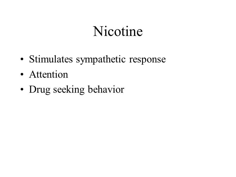 Nicotine Stimulates sympathetic response Attention Drug seeking behavior