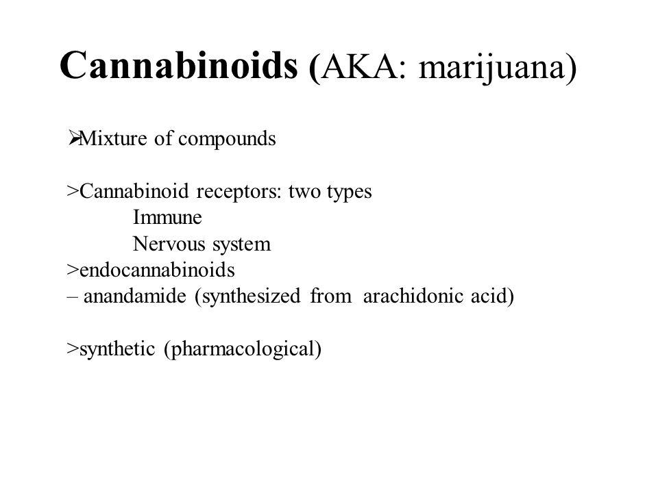 Cannabinoids (AKA: marijuana)  Mixture of compounds >Cannabinoid receptors: two types Immune Nervous system >endocannabinoids – anandamide (synthesized from arachidonic acid) >synthetic (pharmacological)