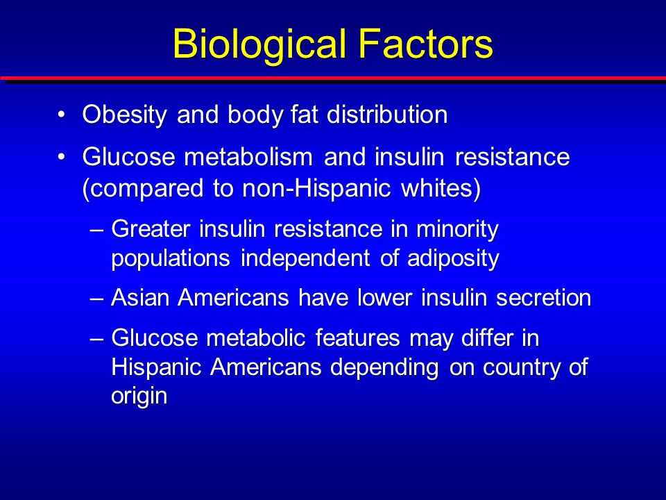 Biological Factors Obesity and body fat distribution Glucose metabolism and insulin resistance (compared to NHWs) Genetics –Type 2 diabetes susceptibility loci associated in European populations also associated with increased risk in minority populations –Genome-wide association studies have identified additional diabetes-associated single-nucleotide polymorphisms in South and East Asians and in non-Hispanic blacks