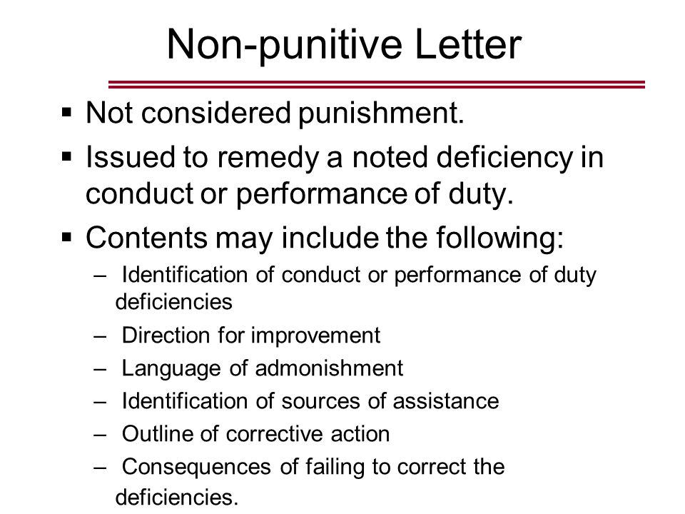 Non-punitive Letter  Not considered punishment.