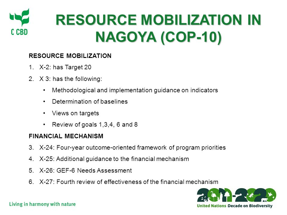 Strategy for Resource Mobilization (Decision X/3) The COP, committed to substantially increasing resources from all sources, balanced with effective implementation of the Strategic Plan 2011-2020 15 indicators agreed by COP 10 to monitor implementation of resource mobilization strategy All Parties provided with adequate financial resources will have, by 2015:  Reported funding needs, gaps and priorities  Assessed the values of biodiversity  Prepared national financial plans for biodiversity Decides to adopt targets at its 11 th meeting provided that robust baselines have been identified and endorsed and an effective reporting framework has been adopted