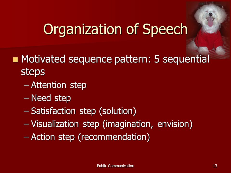 Public Communication13 Organization of Speech Motivated sequence pattern: 5 sequential steps Motivated sequence pattern: 5 sequential steps –Attention step –Need step –Satisfaction step (solution) –Visualization step (imagination, envision) –Action step (recommendation)