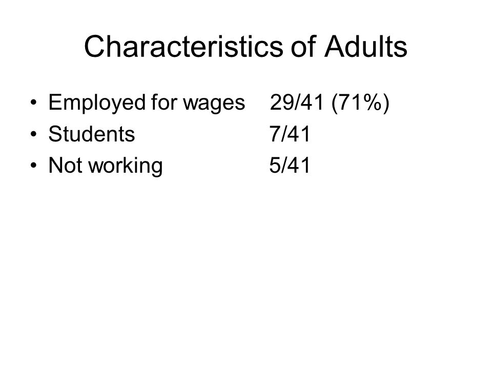 Characteristics of Adults Employed for wages 29/41 (71%) Students 7/41 Not working 5/41