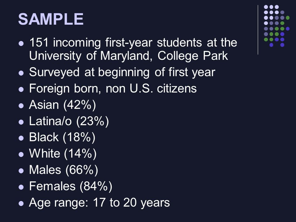 SAMPLE 151 incoming first-year students at the University of Maryland, College Park Surveyed at beginning of first year Foreign born, non U.S.