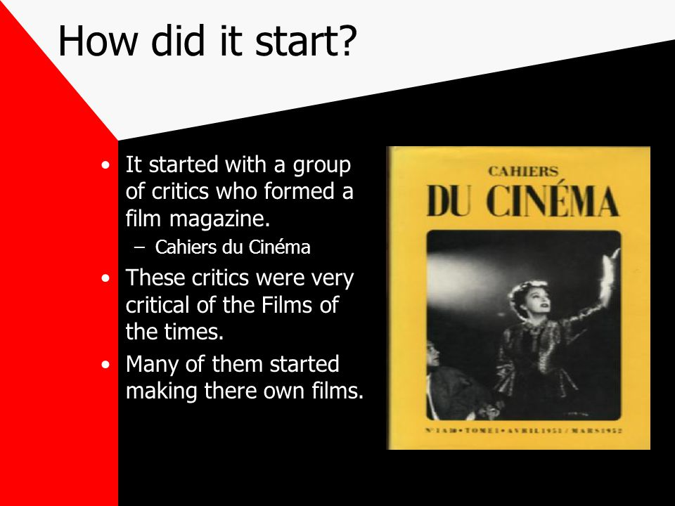 Cahiers du Cinéma It was very critical of the new films of the times.