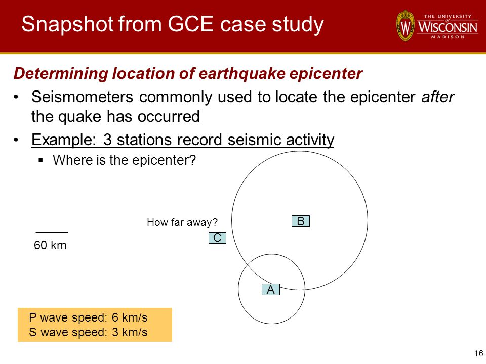 16 Snapshot from GCE case study Determining location of earthquake epicenter Seismometers commonly used to locate the epicenter after the quake has occurred Example: 3 stations record seismic activity  Where is the epicenter.