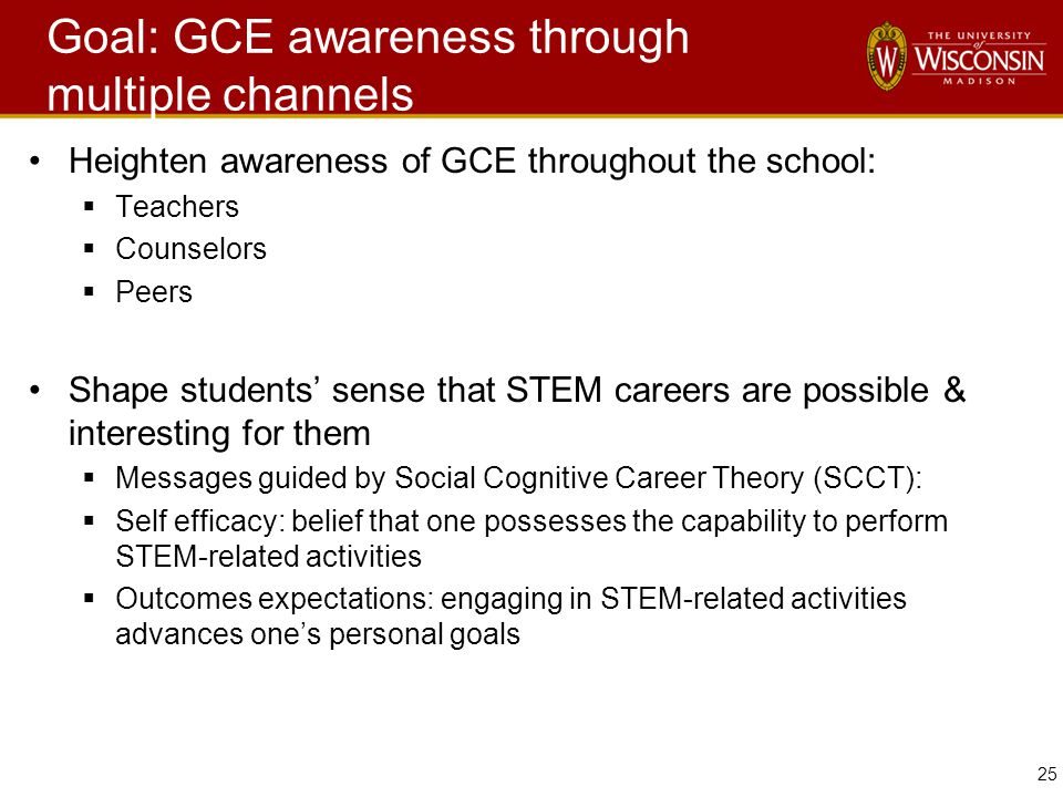 25 Goal: GCE awareness through multiple channels Heighten awareness of GCE throughout the school:  Teachers  Counselors  Peers Shape students' sense that STEM careers are possible & interesting for them  Messages guided by Social Cognitive Career Theory (SCCT):  Self efficacy: belief that one possesses the capability to perform STEM-related activities  Outcomes expectations: engaging in STEM-related activities advances one's personal goals