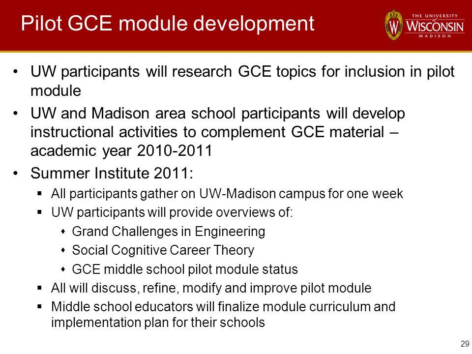 29 Pilot GCE module development UW participants will research GCE topics for inclusion in pilot module UW and Madison area school participants will de