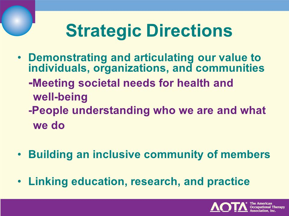 Strategic Directions Demonstrating and articulating our value to individuals, organizations, and communities - Meeting societal needs for health and well-being -People understanding who we are and what we do Building an inclusive community of members Linking education, research, and practice