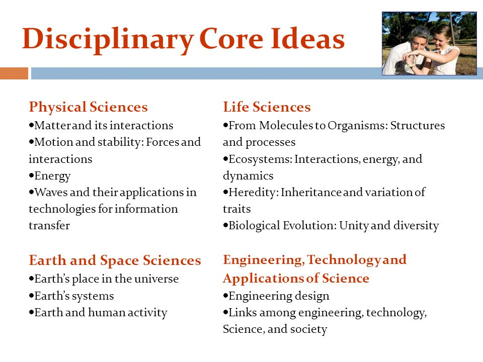 Disciplinary Core Ideas Physical Sciences  Matter and its interactions  Motion and stability: Forces and interactions  Energy  Waves and their applications in technologies for information transfer Life Sciences  From Molecules to Organisms: Structures and processes  Ecosystems: Interactions, energy, and dynamics  Heredity: Inheritance and variation of traits  Biological Evolution: Unity and diversity Earth and Space Sciences  Earth's place in the universe  Earth's systems  Earth and human activity Engineering, Technology and Applications of Science  Engineering design  Links among engineering, technology, Science, and society