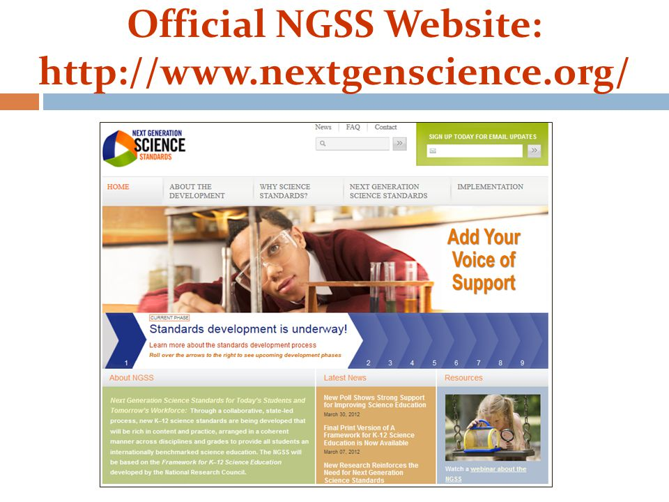 Official NGSS Website: http://www.nextgenscience.org/