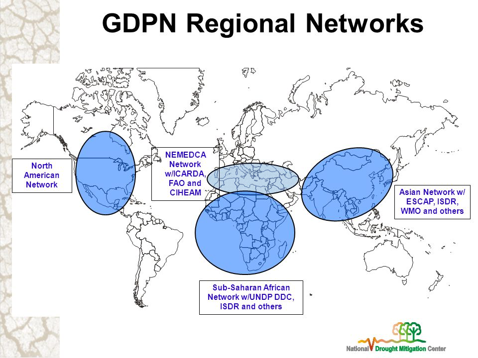GDPN Regional Networks NEMEDCA Network w/ICARDA, FAO and CIHEAM North American Network Sub-Saharan African Network w/UNDP DDC, ISDR and others Asian Network w/ ESCAP, ISDR, WMO and others