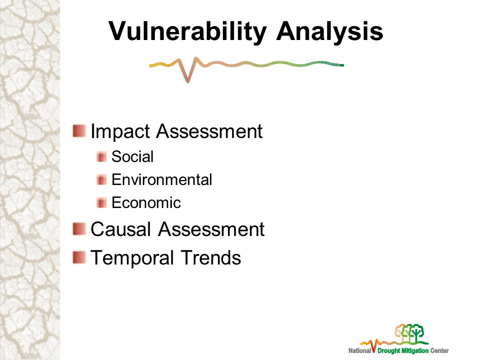 Vulnerability Analysis Impact Assessment Social Environmental Economic Causal Assessment Temporal Trends