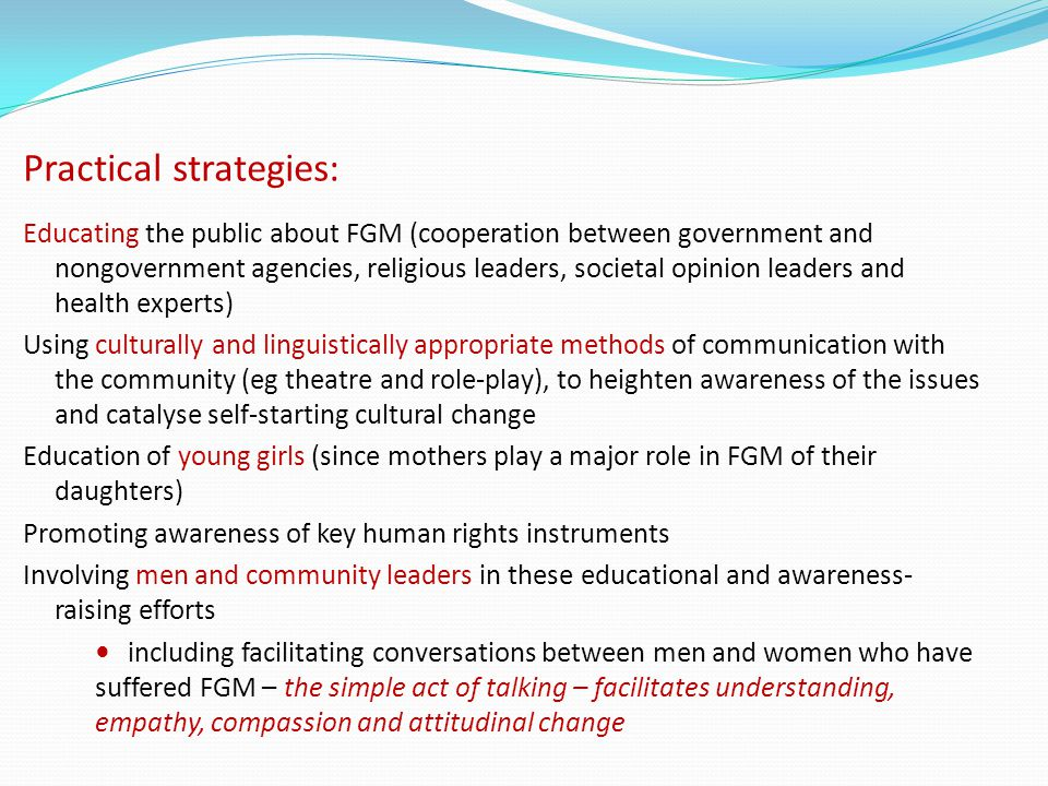 Practical strategies: Educating the public about FGM (cooperation between government and nongovernment agencies, religious leaders, societal opinion l