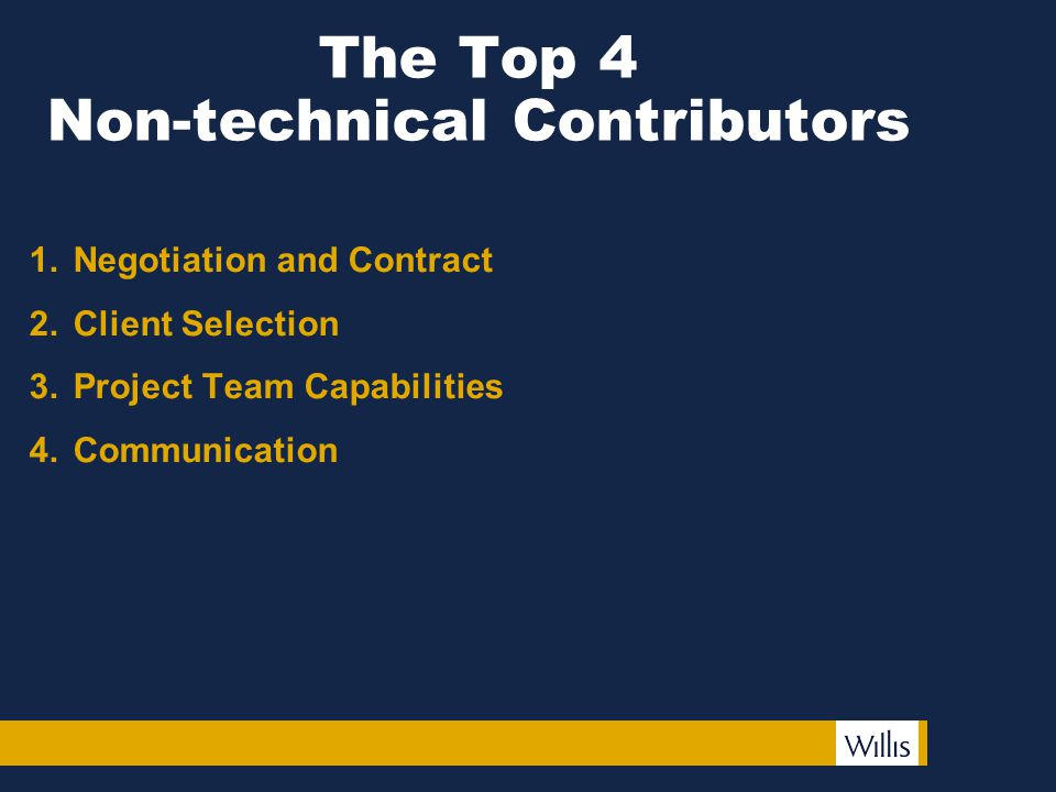 The Top 4 Non-technical Contributors 1.Negotiation and Contract 2.Client Selection 3.Project Team Capabilities 4.Communication