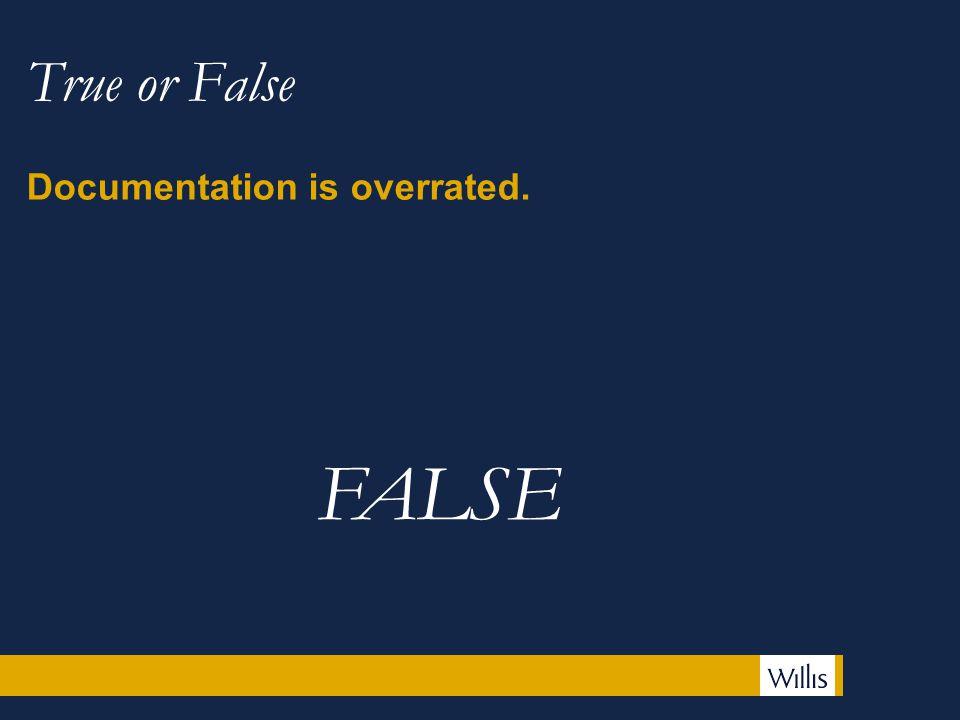 True or False Documentation is overrated. FALSE