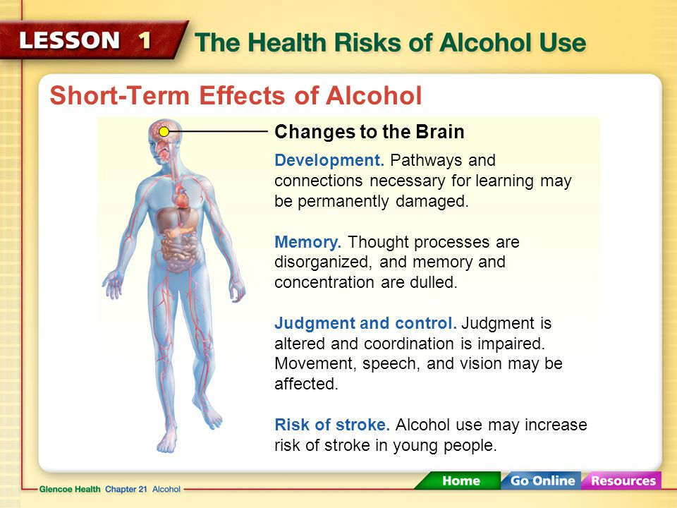 Short-Term Effects of Alcohol The amount of alcohol that can cause intoxication varies from person to person. Intoxication The state in which the body