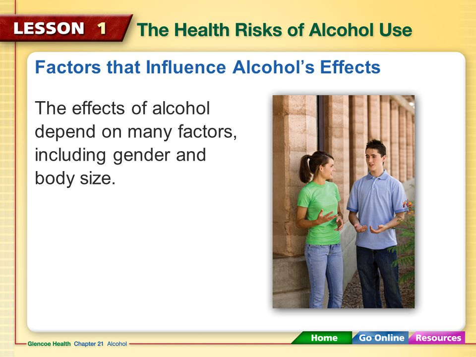 Factors that Influence Alcohol's Effects Body Size Gender Food Rate of Intake Amount Medicine A smaller person feels the effect of the same amount of