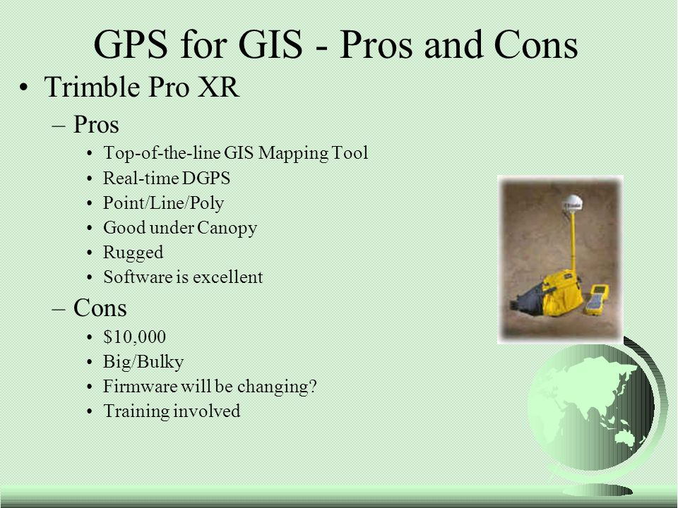 Trimble Pro XR –Pros Top-of-the-line GIS Mapping Tool Real-time DGPS Point/Line/Poly Good under Canopy Rugged Software is excellent –Cons $10,000 Big/