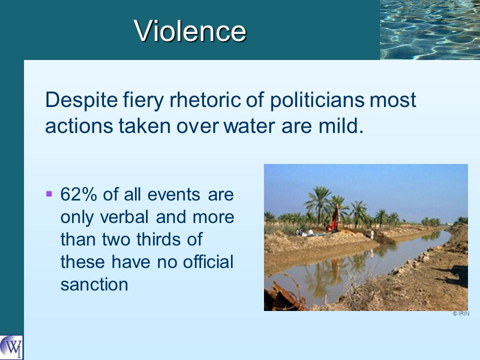 Violence   62% of all events are only verbal and more than two thirds of these have no official sanction Despite fiery rhetoric of politicians most actions taken over water are mild.