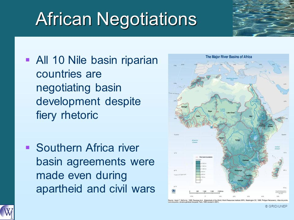 African Negotiations   All 10 Nile basin riparian countries are negotiating basin development despite fiery rhetoric   Southern Africa river basin