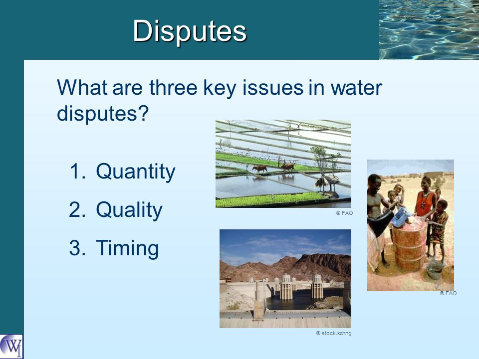 Disputes What are three key issues in water disputes? 1. 1.Quantity 2. 2.Quality 3. 3.Timing © FAO © stock.xchng