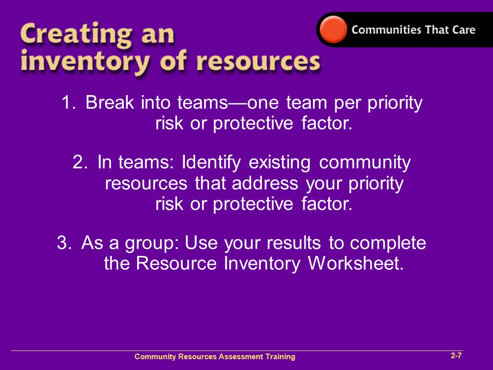 Community Plan Implementation Training 1- Community Resources Assessment Training 2-7 1.Break into teams—one team per priority risk or protective fact