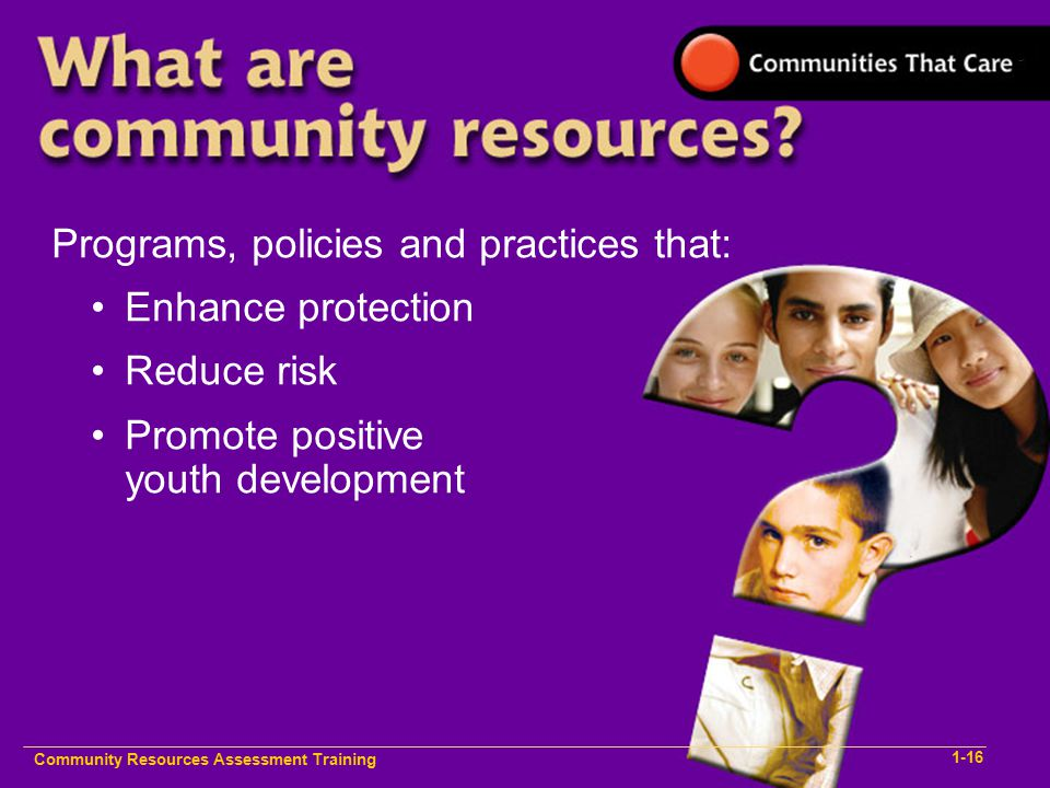 Programs, policies and practices that: Enhance protection Reduce risk Promote positive youth development Community Resources Assessment Training 1-16
