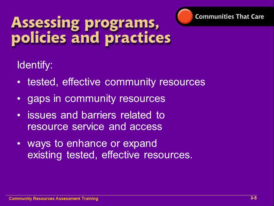 Community Plan Implementation Training 1- Community Resources Assessment Training 2-1 Community Resources Assessment Training 2-1