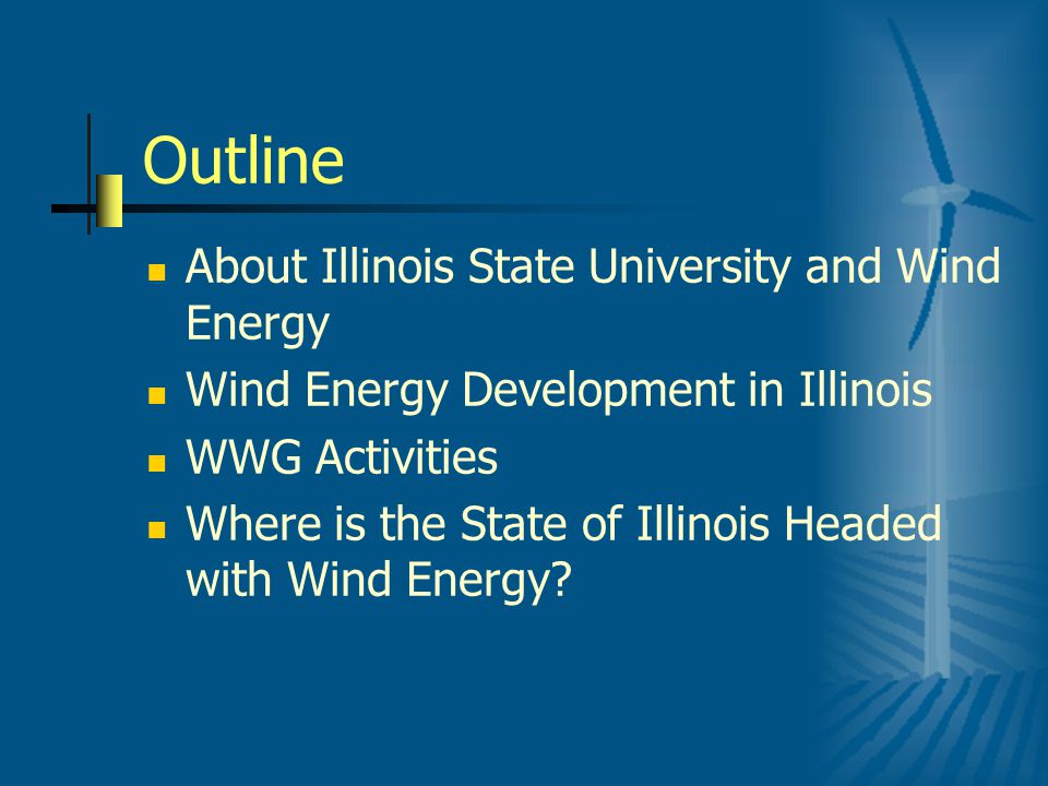Current Generating Capacity 10 projects with 734.4 MW of generating capacity in 9 counties Mendota Hills, Manlius (Bureau Valley School Dist), Illinois Rural Electric Coop, Crescent Ridge, Twin Groves I, Twin Groves II, Rock Island, Camp Grove Wind Farm, GSG Wind Farm, Adam = GSG 3 LLC