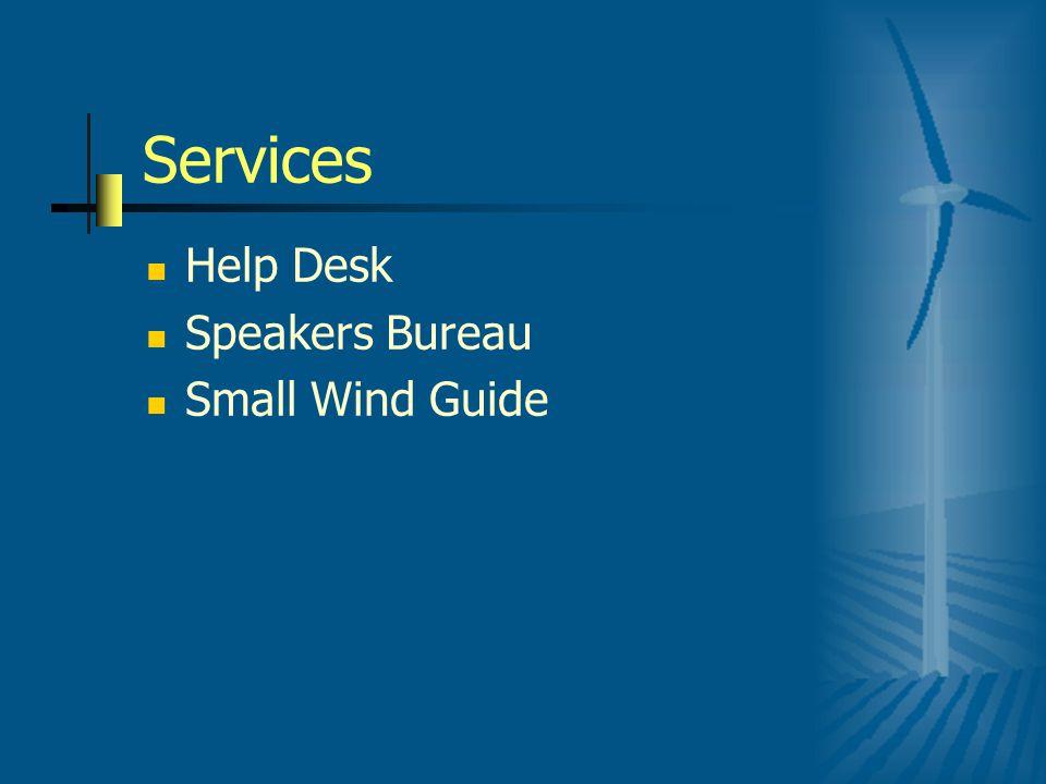Services Help Desk Speakers Bureau Small Wind Guide