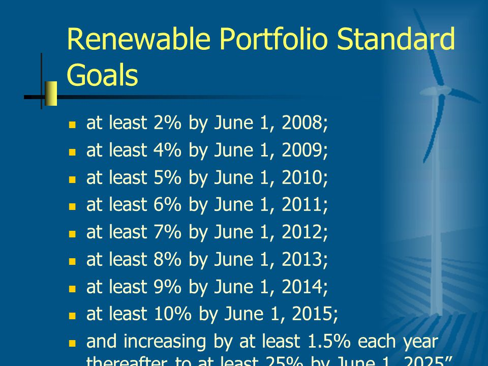 Renewable Portfolio Standard Goals at least 2% by June 1, 2008; at least 4% by June 1, 2009; at least 5% by June 1, 2010; at least 6% by June 1, 2011; at least 7% by June 1, 2012; at least 8% by June 1, 2013; at least 9% by June 1, 2014; at least 10% by June 1, 2015; and increasing by at least 1.5% each year thereafter to at least 25% by June 1, 2025
