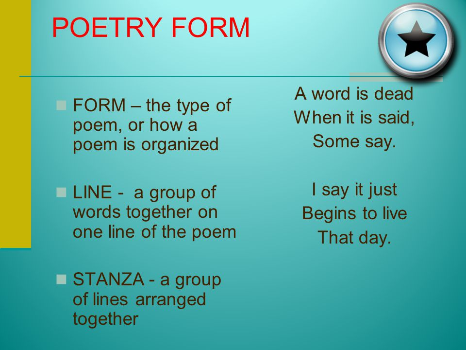 """POINT OF VIEW IN POETRY POET The poet is the author of the poem. SPEAKER The speaker of the poem is the """"narrator"""" of the poem."""