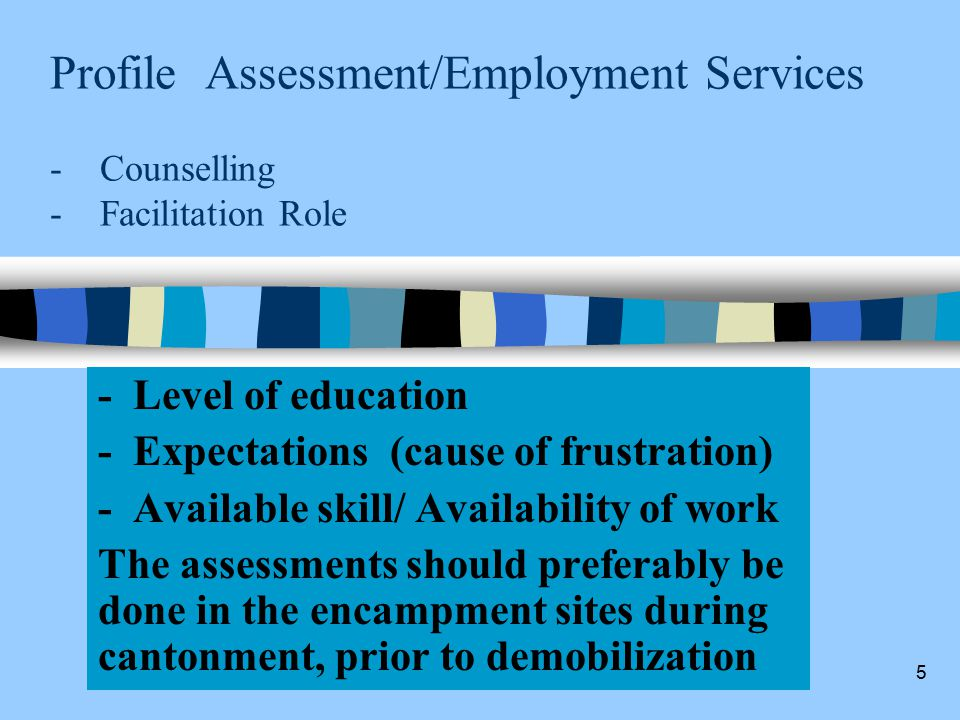 5 Profile Assessment/Employment Services - Counselling - Facilitation Role - Level of education - Expectations (cause of frustration) - Available skill/ Availability of work The assessments should preferably be done in the encampment sites during cantonment, prior to demobilization