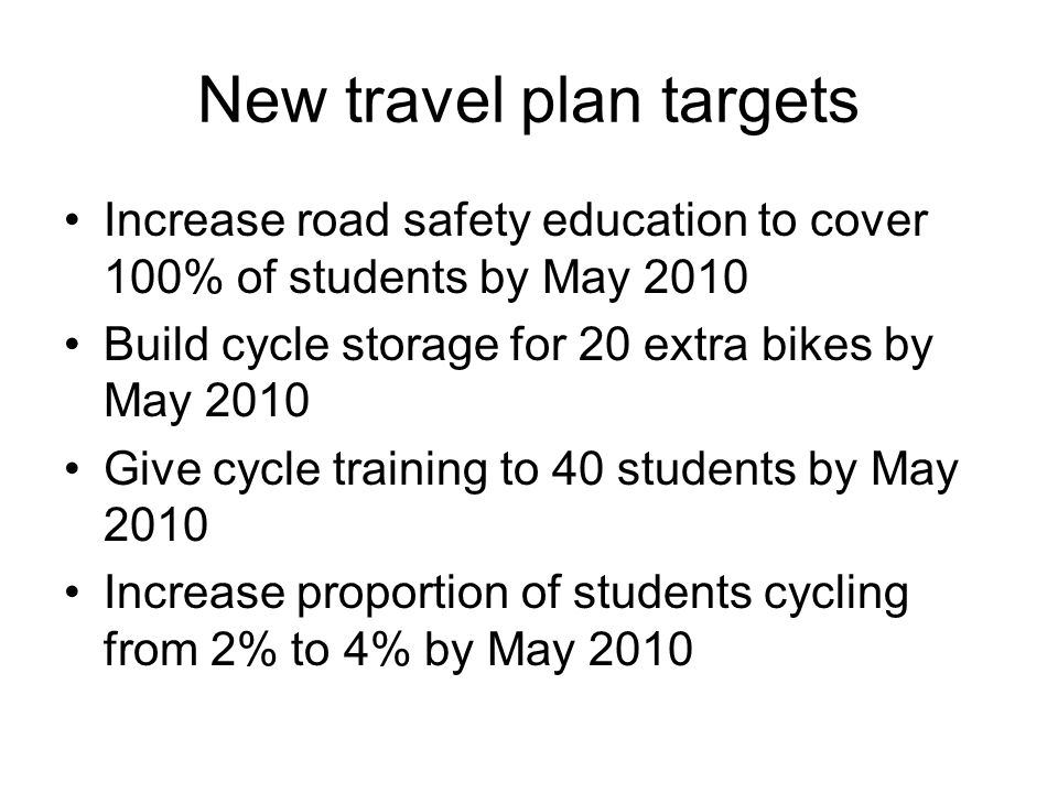 New travel plan targets Increase road safety education to cover 100% of students by May 2010 Build cycle storage for 20 extra bikes by May 2010 Give c