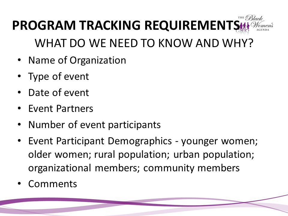 PROGRAM TRACKING REQUIREMENTS WHAT DO WE NEED TO KNOW AND WHY.