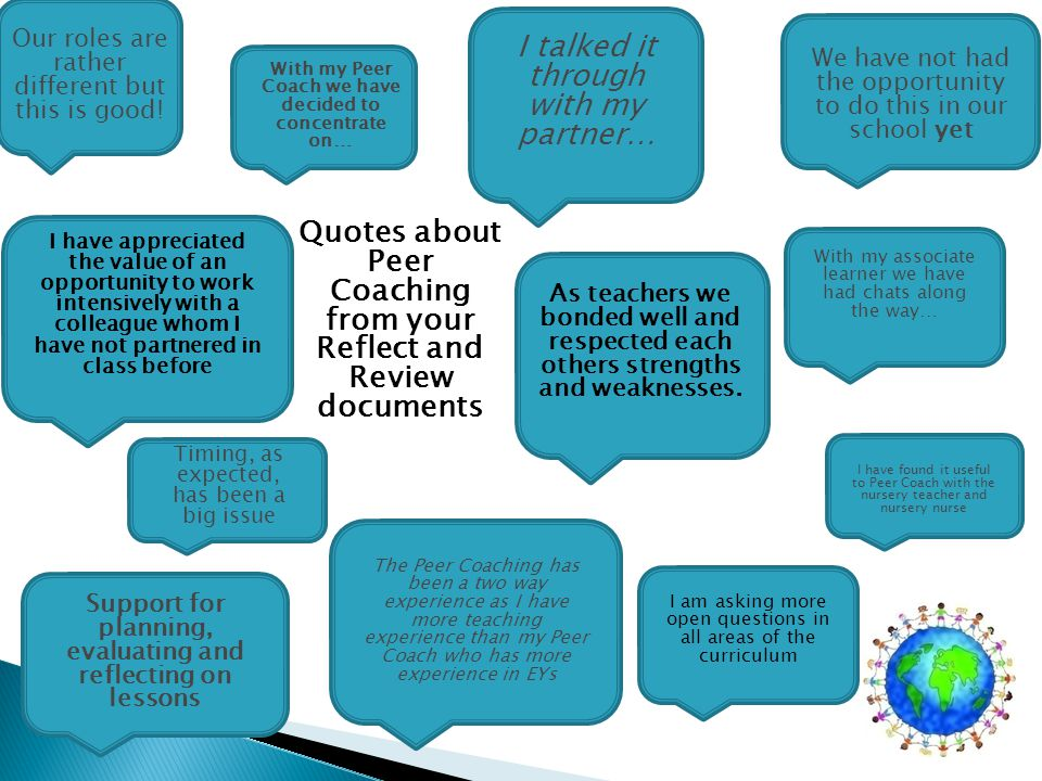 Quotes about Peer Coaching from your Reflect and Review documents With my associate learner we have had chats along the way… Our roles are rather different but this is good.