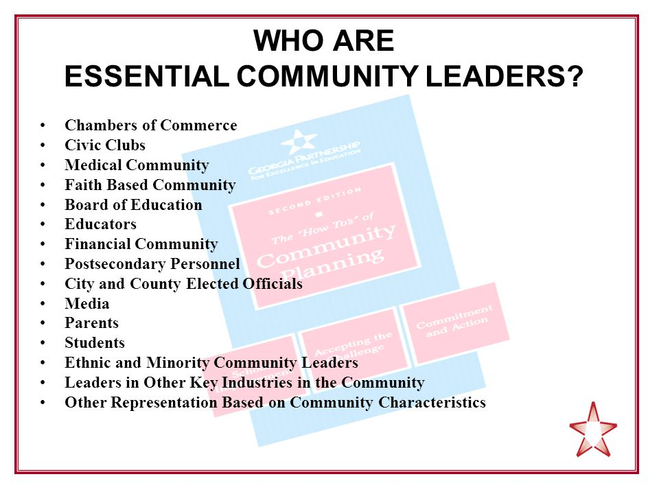 WHO ARE ESSENTIAL COMMUNITY LEADERS.