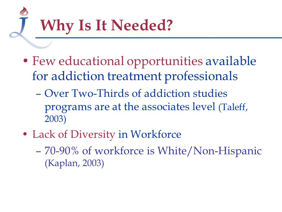 Few educational opportunities available for addiction treatment professionals –Over Two-Thirds of addiction studies programs are at the associates level (Taleff, 2003) Lack of Diversity in Workforce –70-90% of workforce is White/Non-Hispanic (Kaplan, 2003) Why Is It Needed