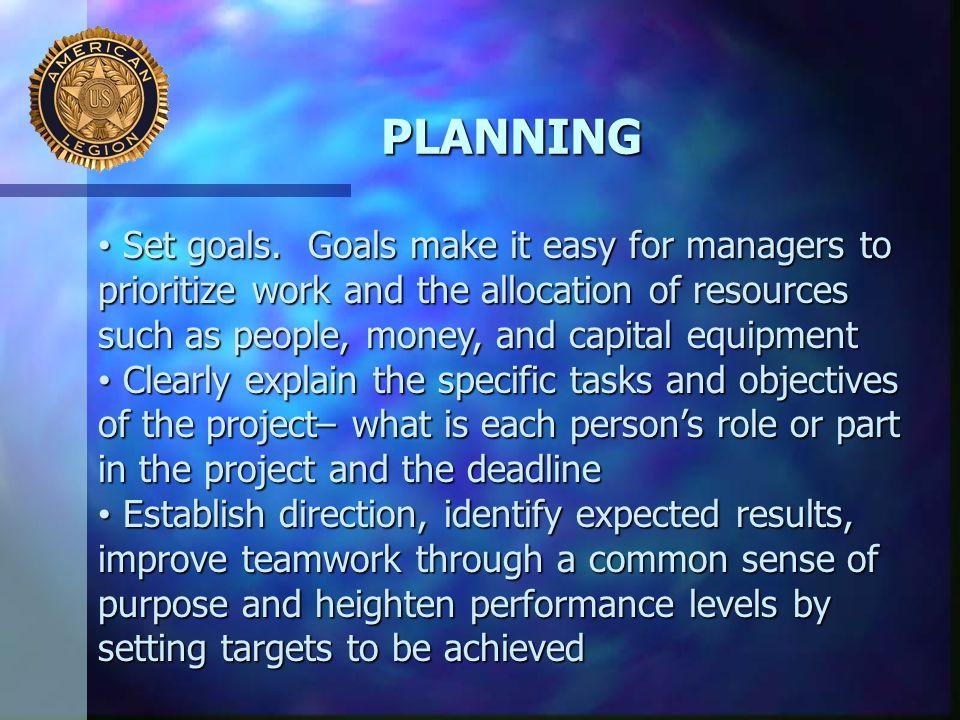 PLANNING Set goals.