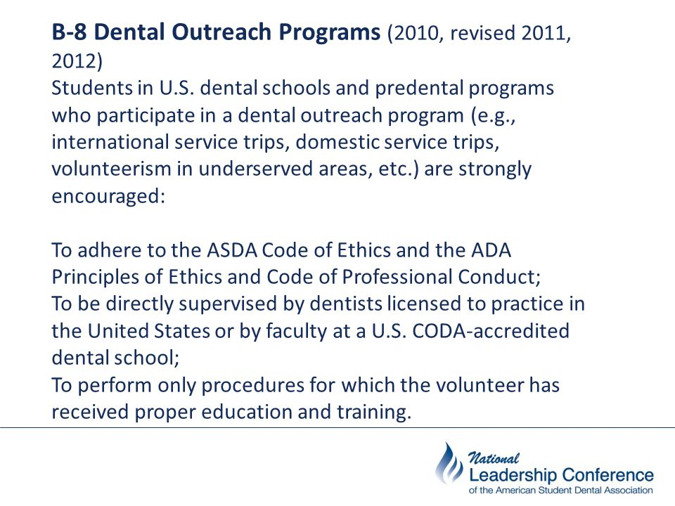 RESOLUTION Resolved, that the Council on Professional Issues develop a policy regarding the performance of irreversible procedures by non-dentists, including but not limited to predental students participating in dental outreach programs; and be it further Resolved, that the Council on Professional Issues and Governance present this policy to the House of Delegates at the 2011 Annual Session.