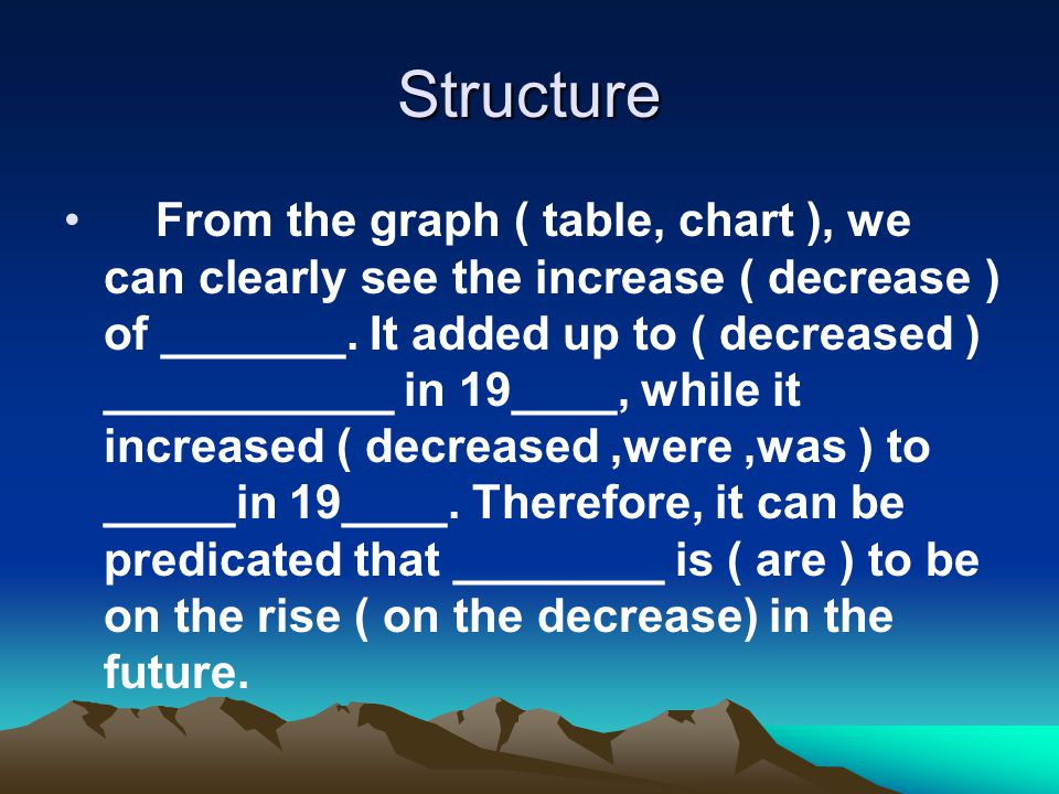 Structure From the graph ( table, chart ), we can clearly see the increase ( decrease ) of _______.